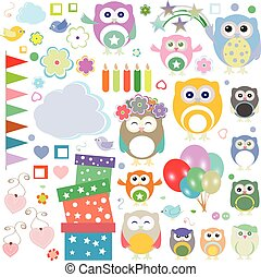 Set of vector birthday party elements with cute owls