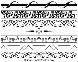 set of vector black borders