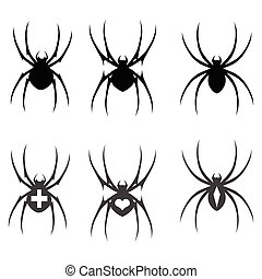 Set of vector black silhouette spider icon isolated on white background.