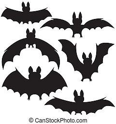 bats - set of vector black vampire bats on Halloween