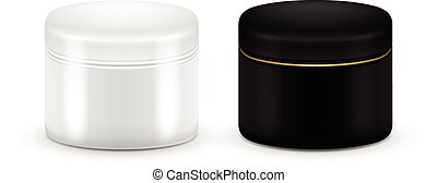 Set of vector Blank Cosmetic Container for Cream, Powder or Gel. Black and white color. Cosmetic container. Mock up.