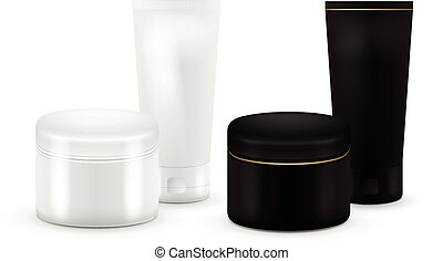 Set of vector Blank Cosmetic Container for Cream, Powder or Gel. Black and white color. Cosmetic container. Mock up. Tube Of Toothpaste, Cream, Serum or Clean. Product Packing.