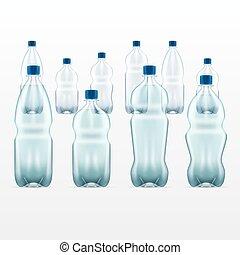 set of vector blank plastic blue water bottles. transparent