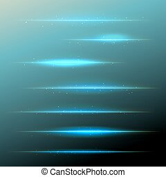 set of vector blue lens flares with sparkling particles. design elements