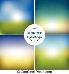 Set of vector blurred backgrounds