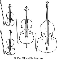 Set of vector bowed stringed musical instruments drawn by lines.
