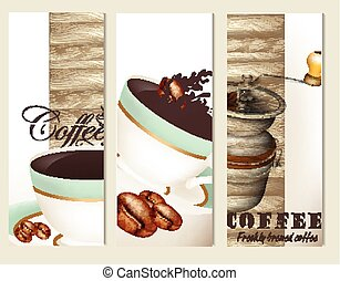 Set of vector brochures with coffee