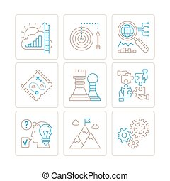 Set of vector business icons and concepts in mono thin line style