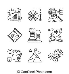 Set of vector business icons in sketch style