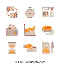 Set of vector business or finance icons and concepts in flat style
