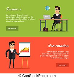Set of Vector Business Web Banners in Flat Design