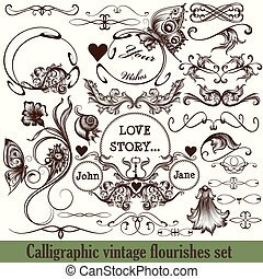 Set of vector calligraphic flourishes in vintage style engraved ornaments.eps