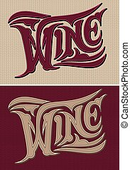 set of vector calligraphic inscriptions wine