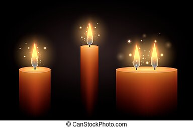 Set of vector candles in the dark. Vector element for your creativity