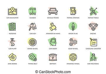 Set of vector car service and auto repair colored line icons with titles. Route map, undercarriage, automobile, oil station, wrench, screwdriver, clipboard, key, spark plug, motor, mechanic, pump, wheel, gear wheel, disc brake and more.