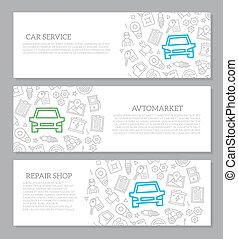 Set of vector car service and auto repair horizontal banners with icon pattern. Vector illustration