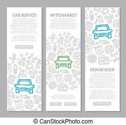 Set of vector car service and auto repair vertical banners with icon pattern. Vector illustration