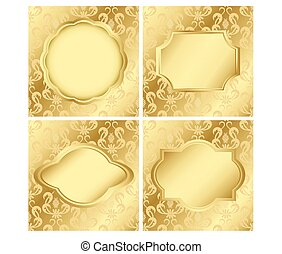 set of vector cards with golden texture
