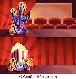 Set of vector cartoon banners with a cinema hall, screen and red curtains.