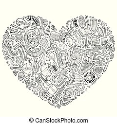 Set of vector cartoon doodle classic musical instruments and objects collected in a heart