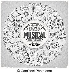 Set of vector cartoon doodle musical objects collected in a round border