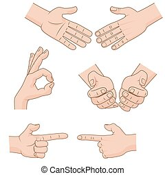 Set of vector cartoon Hands Icons for business illustration concepts