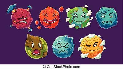 Set of vector cartoon illustrations fantasy alien planets showing different emotions