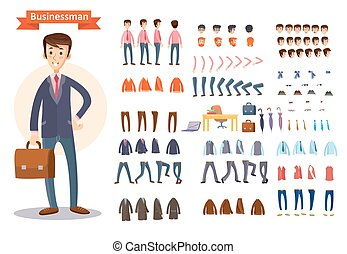 Set of vector cartoon illustrations for creating a...