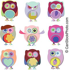 Set of vector cartoon owls with various emotions