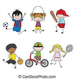 Set of vector cartoon sport icons