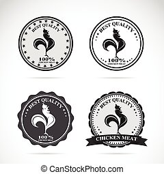 Set of vector chicken labels on white background