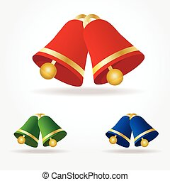 Set of vector Christmas bells. Green, red and blue bells with golden elements isolated on white background