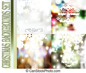 Set of vector Christmas blurred backgrounds with lights and snowflakes