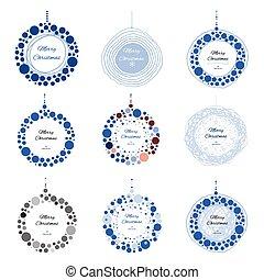 Set of vector Christmas doodle ball for print, web