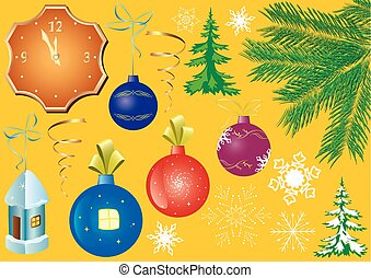 set of vector christmas elements for design