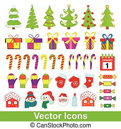 Set of vector Christmas icons.