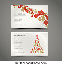 Set of vector christmas / New Year cards (golden and red)