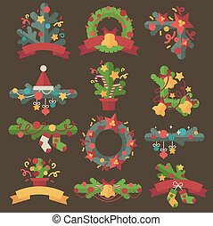 Set of vector christmas wreaths.
