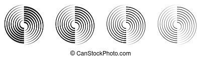 Set of vector circle elements. Black linear circle