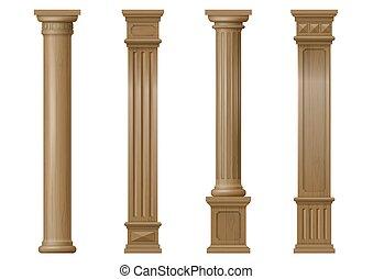 Set of vector classic wood columns
