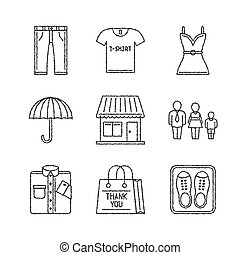 Set of vector clothes icons in sketch style