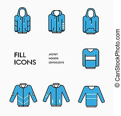 Set of vector clothing icons with blue fill and black stroke.
