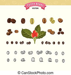 Set of vector coffee beans on white background