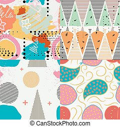 Set of vector color seamless patterns in the Memphis style. Abstraction texture for design and wallpaper. Stock vector illustration