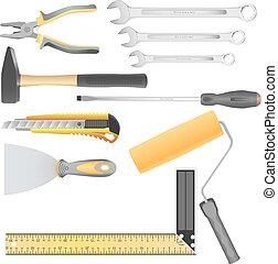 Set of vector colored finishing tools