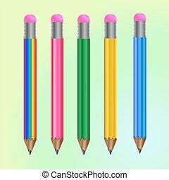 Set of vector colored pencils