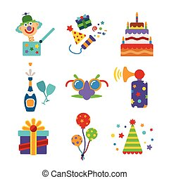 Set of vector colorful celebration icons in flat style like pie champagne wineglass gift box air balloon funny mask cap and jack in the box