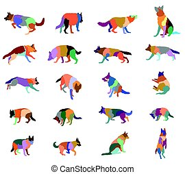 Set of vector colorful dogs