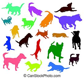 Set of vector colorful dogs silhouettes