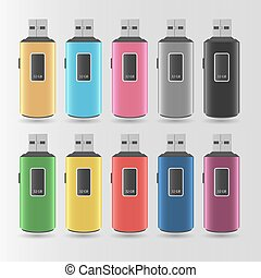 Set Of Vector Colorful Flash Drives